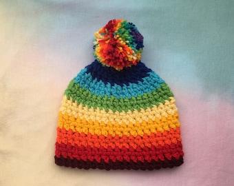 Crocheted rainbow winter beanie!