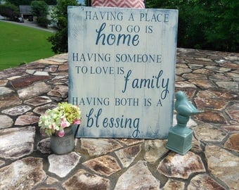 Home, Family, and blessing Wood Sign