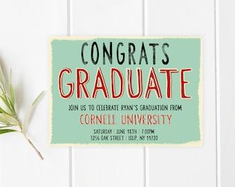Graduation Party Invitation, Graduation Party, Grad Party Invite, Graduation Invites, College Graduation Invite, High School Graduation