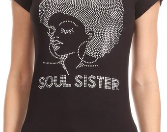 SOUL SISTER Silver Natural Afro Lady Iron on Shirt