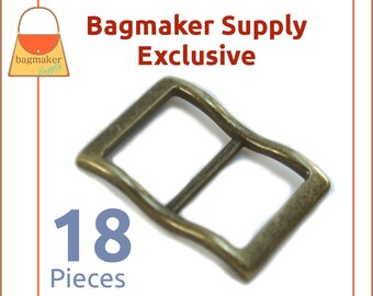 1 Inch Large Mouth Curved Slide Buckle for Thick Strap, Antique Brass / Bronze Finish, 18 Pack, Great For Leather, Purse, BKS-AA127