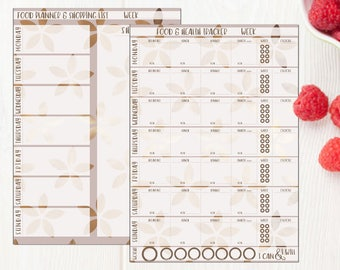Food and Health Tracker, Rose Gold, Food Diary, Diet Diary, Slimming World, Weight Watchers, Printable weight loss chart, fit your planner