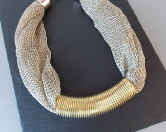 Gold Lurex Tribal Statement Necklace