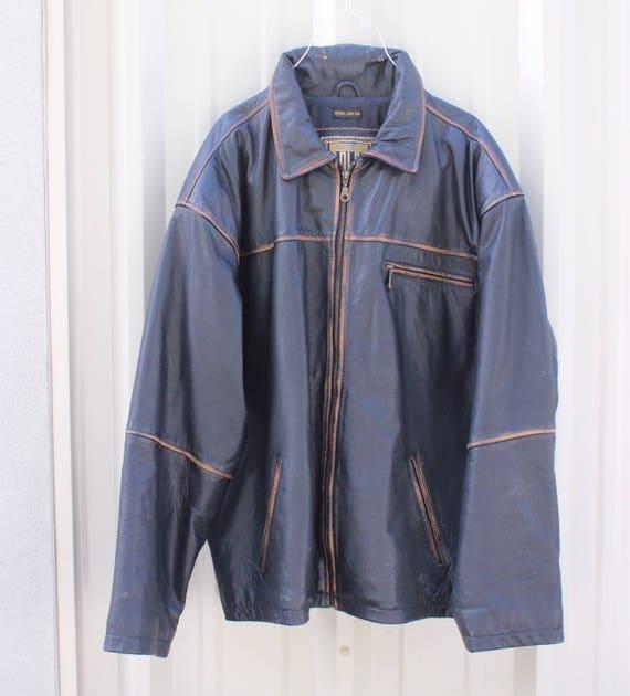 Vintage Leather Man Jacket / Distressed Leather Biker Jacket / Black Leather Jacket Exta Large
