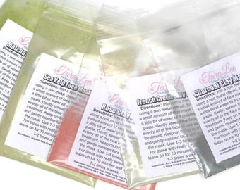3 Face Mask Samples - 1 gram bags - choose 3 of - Rose Clay Mask - Charcoal - Matcha - French Clay - Free shipping