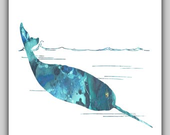 Water color print, narwhal print, narwhal prints, narwhal art, coastal decor, coastal pictures, whale prints, nautical, blue, water colour