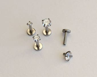 Silver Helix Cartilage Tragus Earring. 16 gauge.228