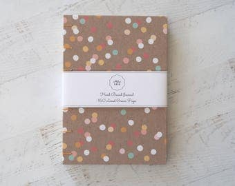 Confetti Coptic Notebook Coptic Journal Travel Notebook Blank Book Writing Journal Hardcover Hand Bound 160 Lined Cream Pages