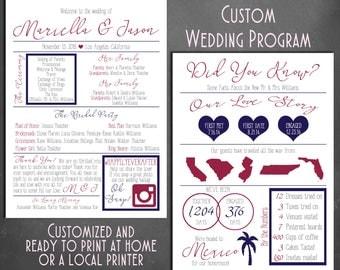 DIGITAL Infographic Custom, Customized Wedding Program