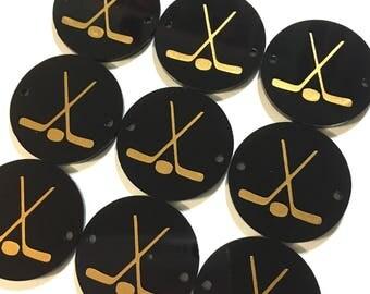 Gold Hockey Sticks on 2 hole black disc, hockey jewelry making, bangle bracelet, gift, handmade beads, 1.2 inch size, hockey mom bangle