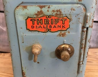 Vintage Dial Thrift Bank childs bank on wheels safe