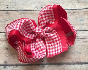 """Red Gingham Hair Bow, 6"""" Red Gingham Bow,  Red and White Plaid Bow - Red Plaid Bow - Red and White Plaid Bow - Red and White Gingham Bow"""