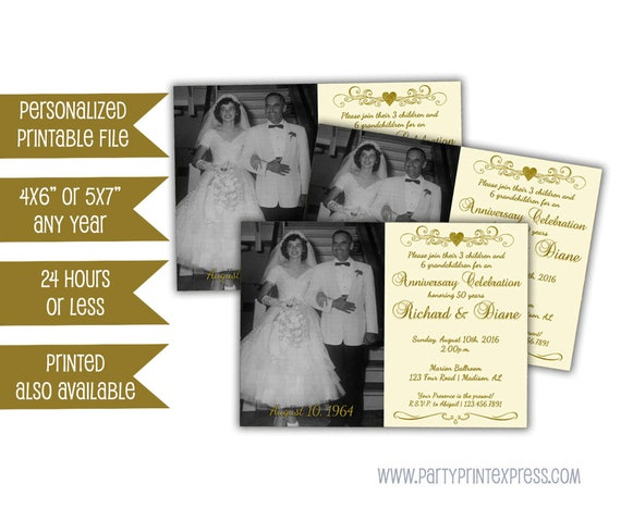 50th Wedding Anniversary Invitation Ideas: Printable Ivory 50th Anniversary Invitations