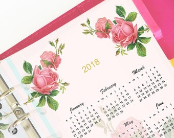 2018 personal planner insert - instant download - printable vintage rose planner calendar - commercial use allowed - filofax planner inserts