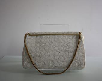 Vintage 1950s White Beaded Evening Bag