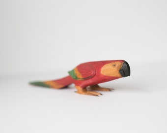 Vintage Wooden Hand Carved Parrot