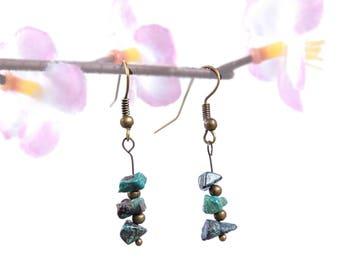 Chrysocolla earrings, folk romantic jewelry, bronze earrings, nature stone earrings, romantic folk dangle earrings natural stone jewelry vyc