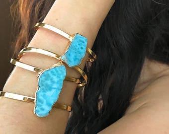 Larimar Cuff Bracelet // Larimar Gold Bracelet // Larimar Bracelet