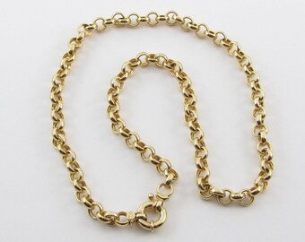 """14K Yellow Gold Rolo Link Toggle Spring Lock Necklace 18"""" 17.6 grams"""