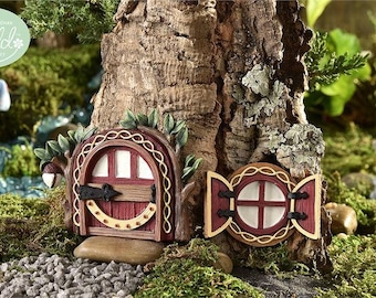Fairy Garden  - Glow-In-The-Dark Redwood Fairy Door & Window - Miniature