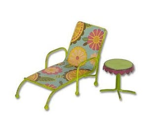 Fairy Garden  - Chaise Lounge With Table - Miniature