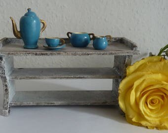 1:12 Shabby chic wooden shelf kitchen coffee pot Cup Creamer sugar bowl