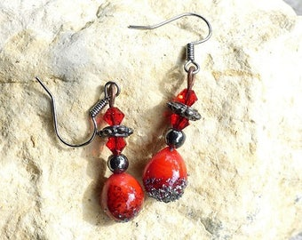 Pyrite dusted red lampwork beads earrings