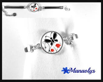 Black leather, poppies, dragonfly and Butterfly glass cabochon bracelet