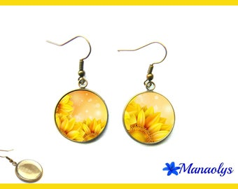 Bronze vintage glass yellow flowers 2236 cabochons earrings