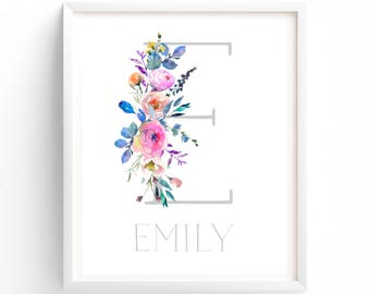 70% OFF SALE Enchanted, Letter and Name Monogram.  Nursery Monogram, Nursery Printable, Monogram Print