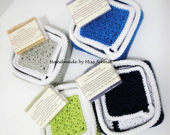 Washcloth Spa Set, Washcloth, Scrubbies, handmade soap, trinket tray