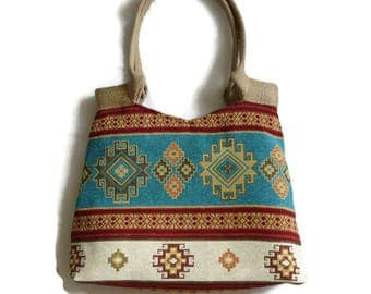 Kilim tote bag, tapestry shoulder bag, oriental tote, turquoise bohemian  bag, ethnic tote bag, hippie bag, Turkish kilim bag, kilim purse