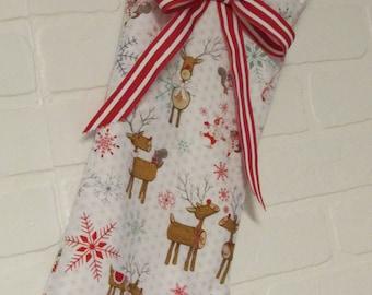 Christmas Stocking, Baby Stocking, Girls stocking, Holidays, Christmas, Gift Bag, Reindeer design, Holiday gift, Stockings