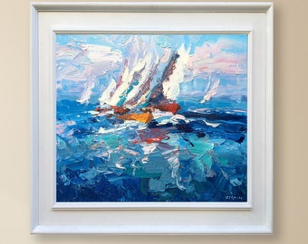 Sailing Painting Oil Painting Original Painting Canvas Painting Sailboat Painting Sailing Art Ocean Painting Sailboat Regatta Art Ocean Art