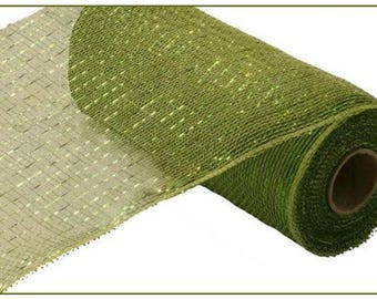 "10"" Moss Green Metallic Deco Mesh, Moss Apple Green Deco Mesh, Moss Green Deco Metallic Mesh, Wreath Supplies - RE130149 (10 Yards)"