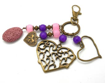 A scent! bronze bag charm, heart and pink and purple beads