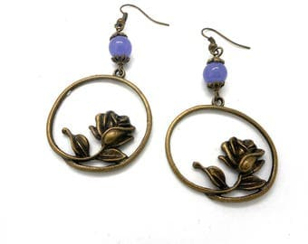 Earrings bronze flower, purple natural bead charms and co.