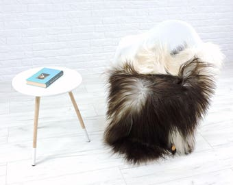 Genuine Icelandic sheepskin rug, brown & cream, single, 135cm x 85cm, G545