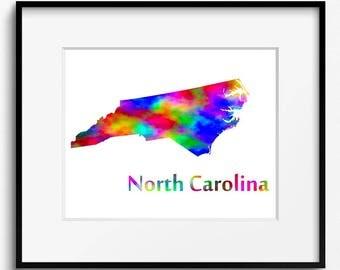 North Carolina State Map Watercolor Art Print (095)