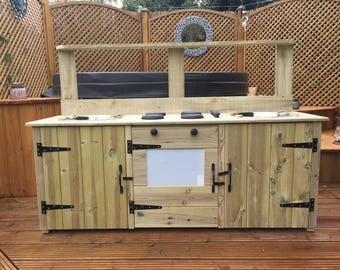 mud kitchen double basin wooden
