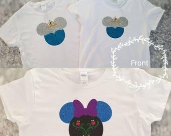 Anna & Elsa Mickey ear GLITTER shirts