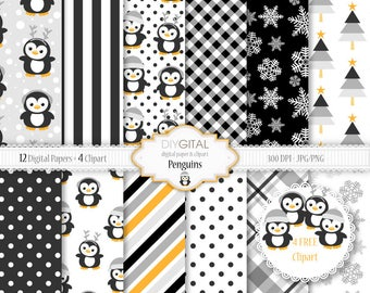Penguins digital papers -12 black, gray and yellow patterns + 4 penguins clipart- snowflakes, christmas trees, penguins-Baby Shower-New baby
