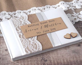 Rustic Burlap, Hessian and Lace Wedding Guest Book - Handmade & Personalised with Wooden Hearts