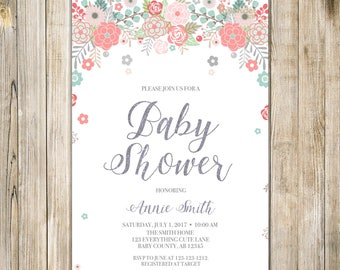 Digital FLORAL BABY SHOWER Invitation, Teal Pink Silver Glitters Baby Girl Shower Invite, Printable Flower Couples Shower Open House LA24