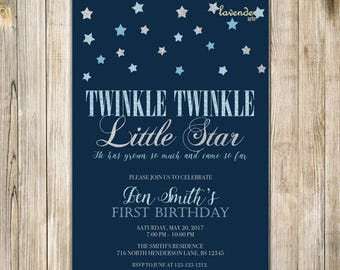 Twinkle TWINKLE LITTLE STAR Birthday Invitation, Blue Silver Glitter Stars Boy One Birthday Invite, Boy 1st First Birthday Printable Digital