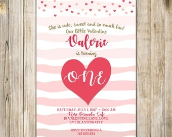 SWEETHEART 1st Birthday Invitation, VALENTINE Birthday Invite, Girl First Birthday Invites, Little Sweetheart Birthday, ONE Birthday