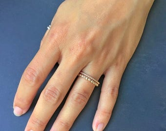 Gift for her, Dotted Gold Ring, Thin Gold ring, 2 mm Stackable Ring, Free Shipping, Gold stacking rings, Gold Filled Ring, Beaded Gold Ring