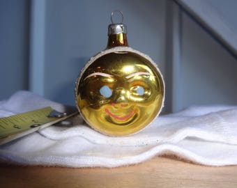 Vintage Christmas Ornament Moon Face very rare