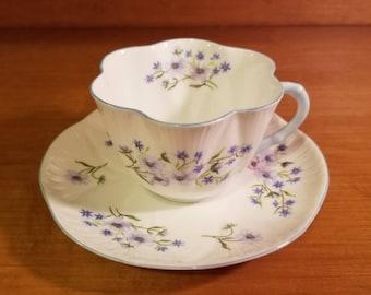 Shelley Dainty Blue Rock China Teacup and Saucer Fine Bone China England