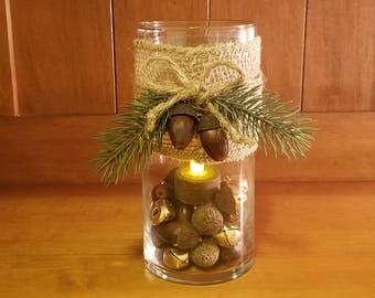 Glass Vase Luminary Candle Holder with Burlap Jute Natural Acorns with Gold Bells Winter Seasonal Lantern Tea Light Luminary Winter Greenery